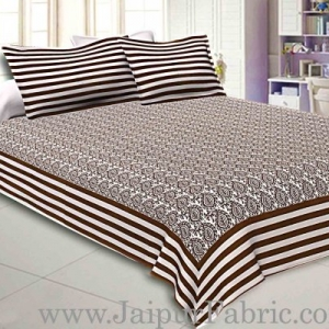 Double Bedsheet White And Chocolate  Border  Fine Cotton  Booti Print