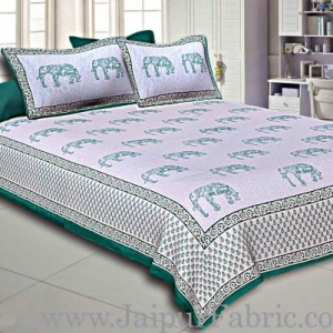 Green Border Cream Base Green Elephant Cotton Satin Hand Block Double Bedsheet