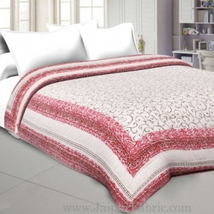 Pink Border  With Light Base Golden Boota print Both Side Printed Double Quilt