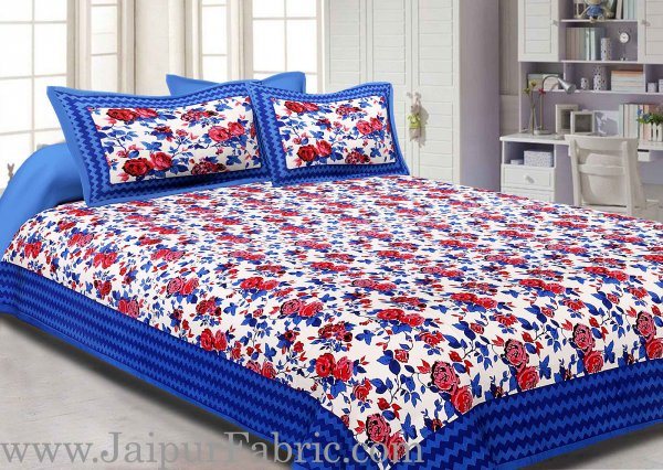 Blue Border With Zigzag Pattern Floral Print Double Bed Sheet  With 2 Pillow Cover