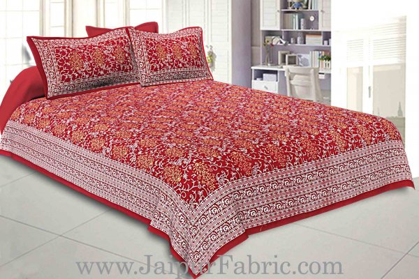 Double Bedsheet Crimson Red Vintage Seamless Print With 2 Pillow Covers