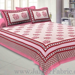 Double bedsheet Pink Border With Big Boota  Print Fine Cotton With Two Pillow Cover