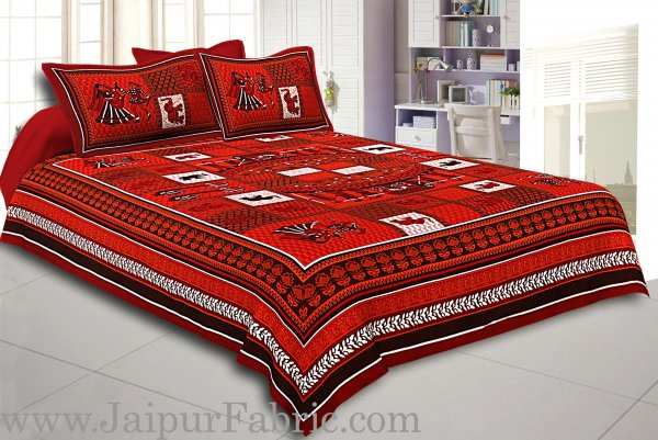 Maroon And Black Border Red Base Doli Print In Checks  Fine Cotoon Double Bed Sheet