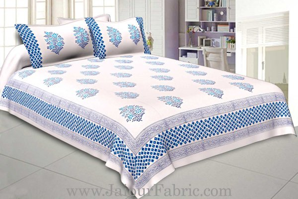 Double Bed Sheet White Base With Kadhi Print Blue Rajasthani Buta Hand Block Print Super Fine  Cotton