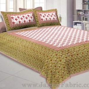 Floral BedSheet Double Bed with Brown Base