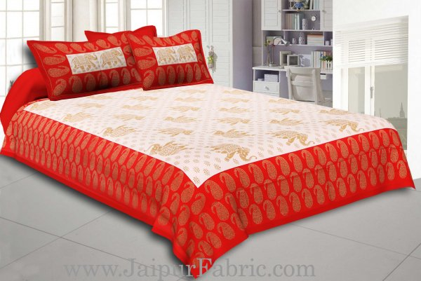 Red Border Elephant Golden Print Cotton Double Bedsheet With Pillow Cover