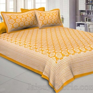 Double Bedsheet Yellow Hand Block Floral Print