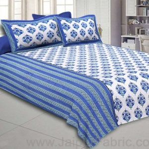 Double Bedsheet Royal blue Bouquet Design