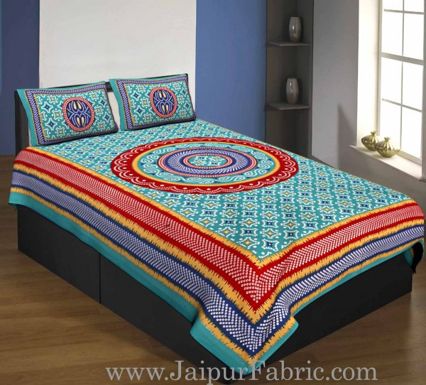 Single Bedsheet Pure Cotton Sea Green  Border with  Bandhej and Rangoli Print