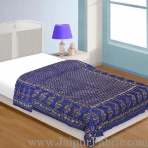 Navy Blue Base Golden Print Single Bed Quilt