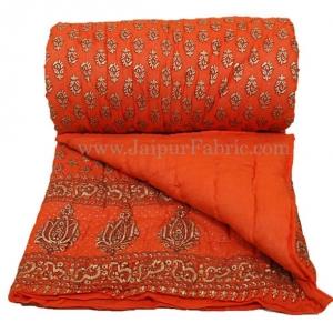 Jaipuri Single Razai Orange Color With Orange Base Small Booti Print