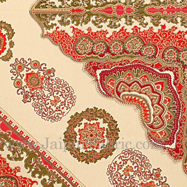 Red Border Multi Big Boota Golden Print Fine Cotton Double Bedsheet With Two Pillow