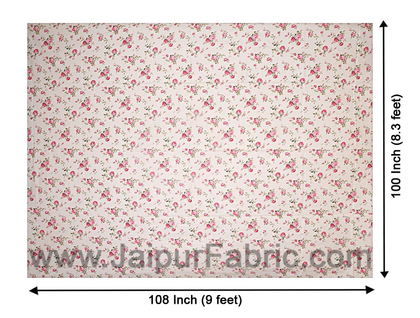 Pure Cotton 240 TC Double bedsheet in pink bouquet print