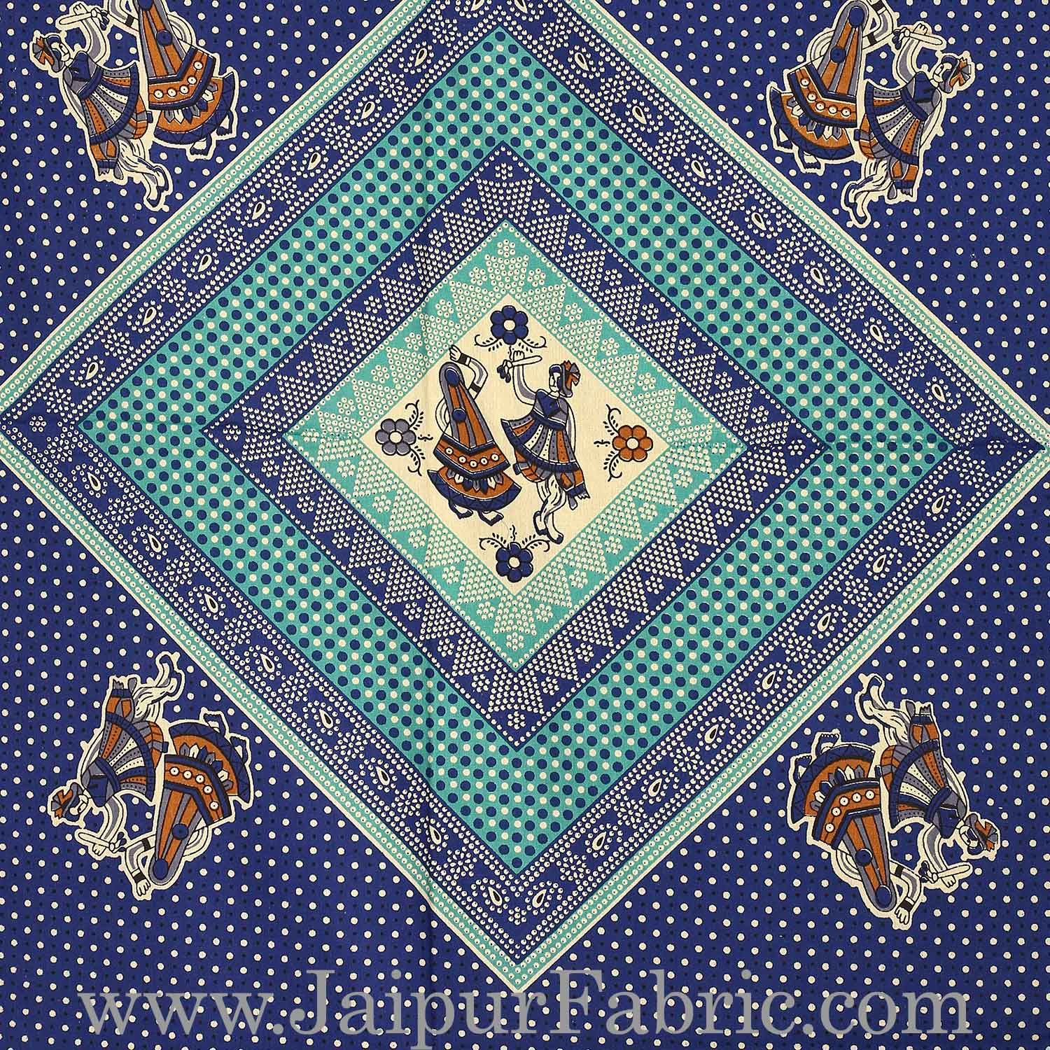 Cream Border Blue Base Bandej And Dandiya Print Diwan Set