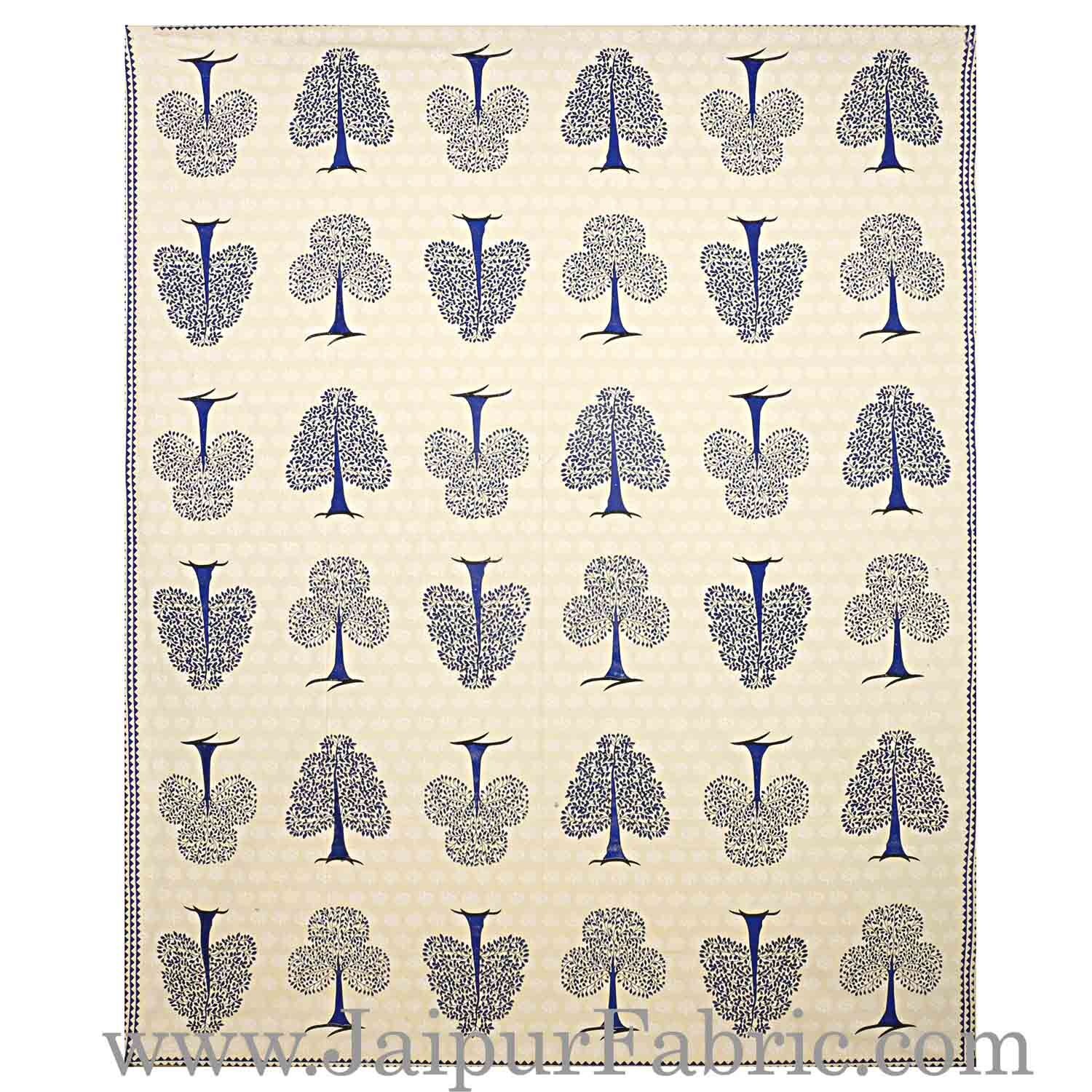 Double bedsheet Blue Small Tree Smooth Cotton Screen Print