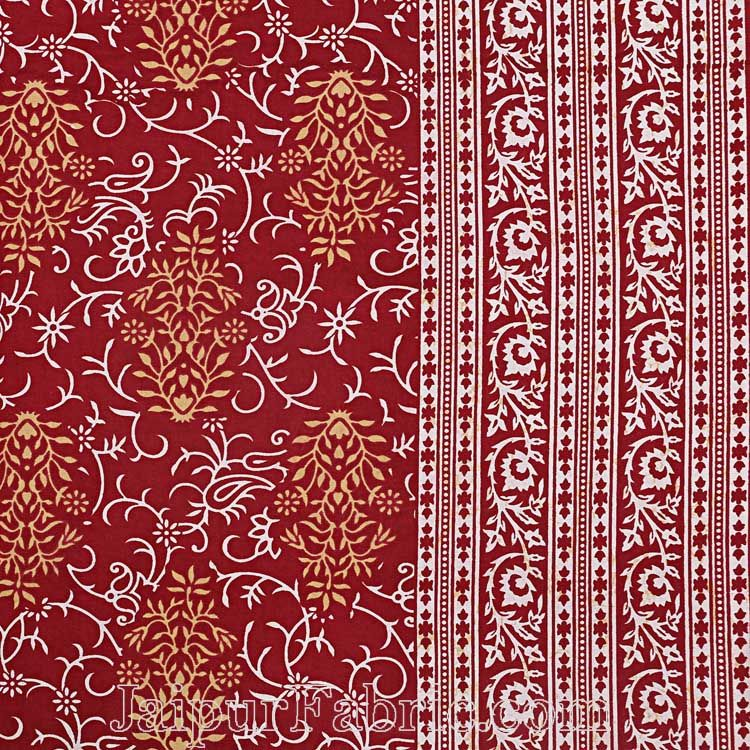 Double Bedsheet Crimson Red Vintage Seamless Print With 2