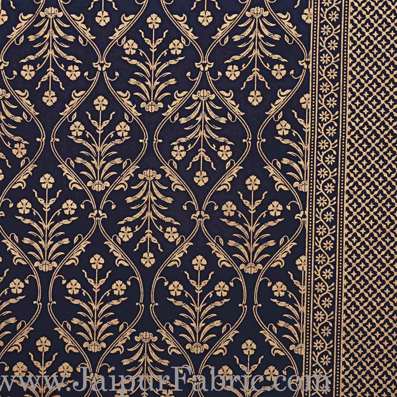 Double Bed Sheet  With Shining Gold Print Blue Base Gold Retro Pattern Super Fine Cotton