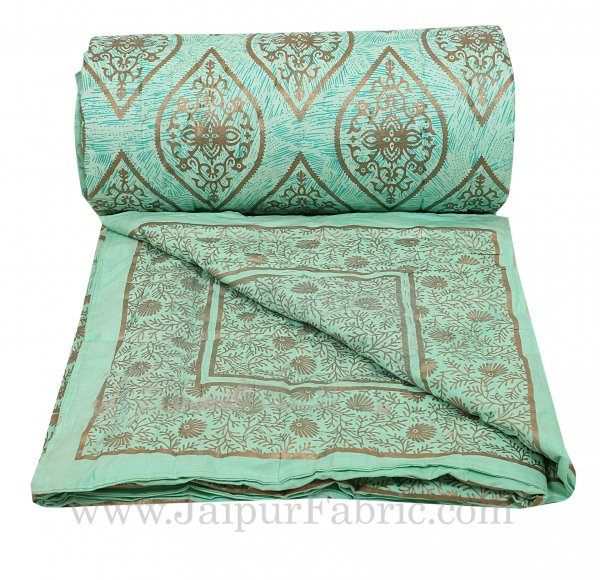 Jaipuri Printed Double Bed Razai Golden Pista Green with retro pattern
