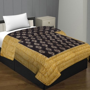 Jaipuri Printed Single Bed Razai Golden Yellow and Dark Brown Green with Paisley pattern