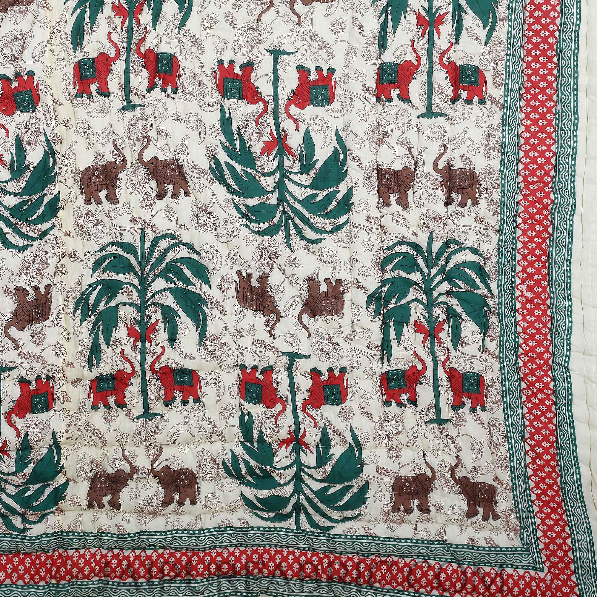 Colorful Forest Jaipuri Double Bed Quilt