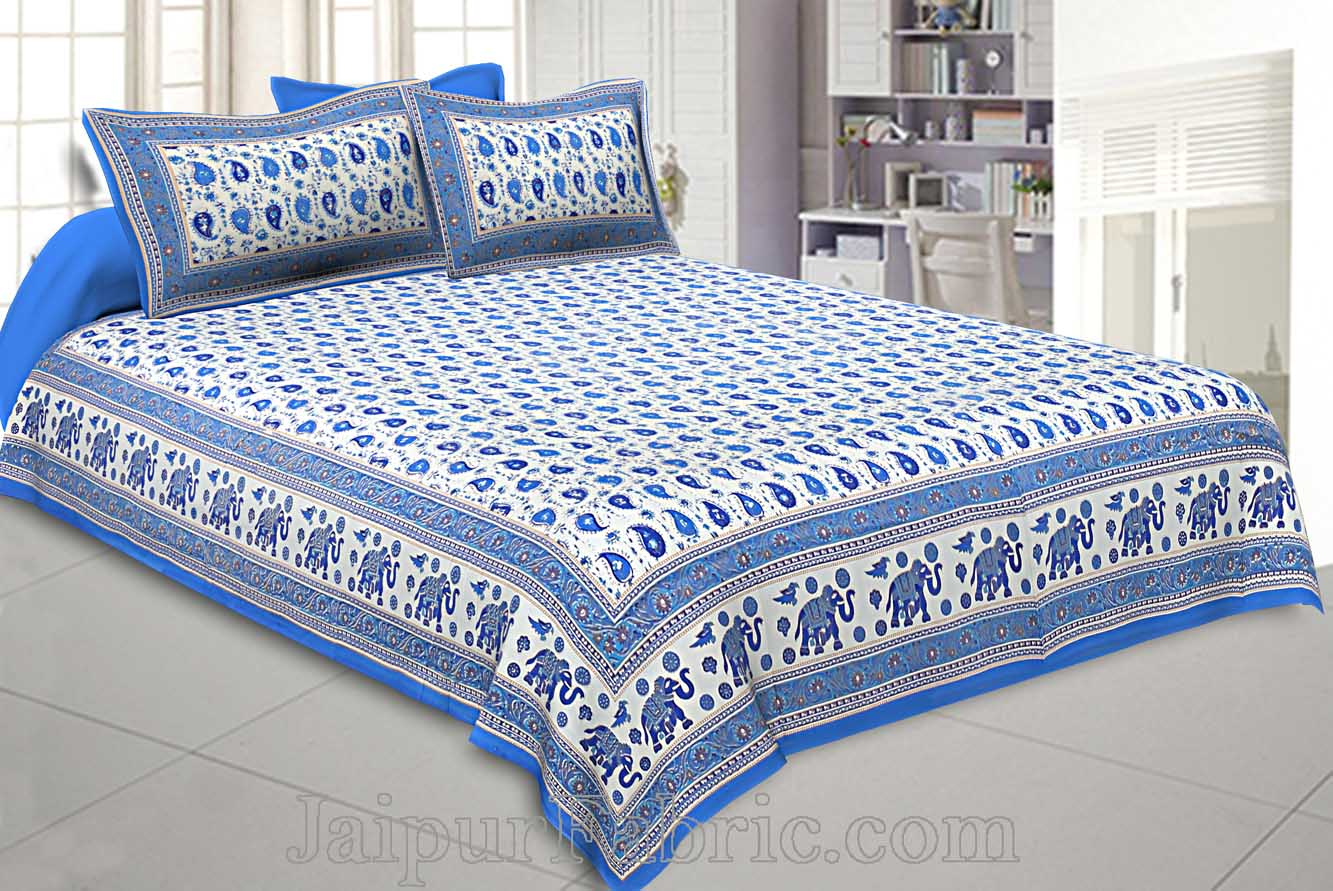 Double Bedsheet paisley Sky blue Gold Print
