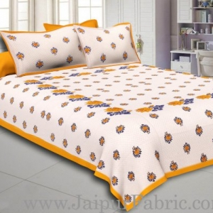 Dotted White Base Yellow Lotus Flower Print Cotton Double Bed Sheet