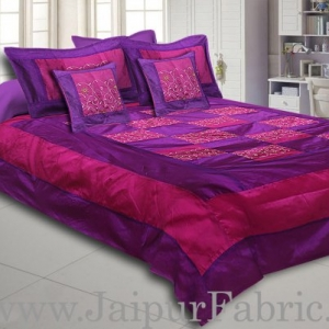Purple With Embroidery Silk festive Double Bed sheet