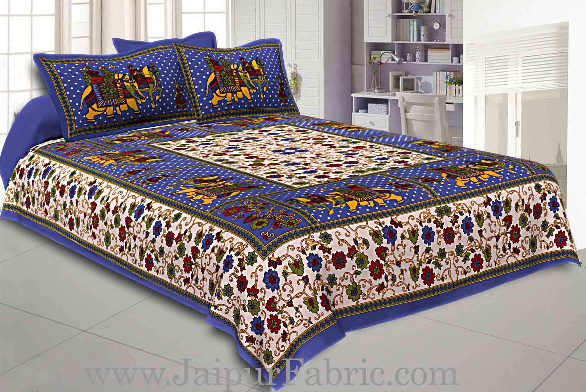 Double Bedsheet Blue Border Gangaur Print Fine Cotton With Two Pillow Cover