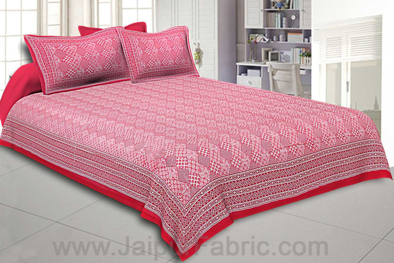 Double Bedsheet Big Bell  Print Red Pink Border Fine Cotton