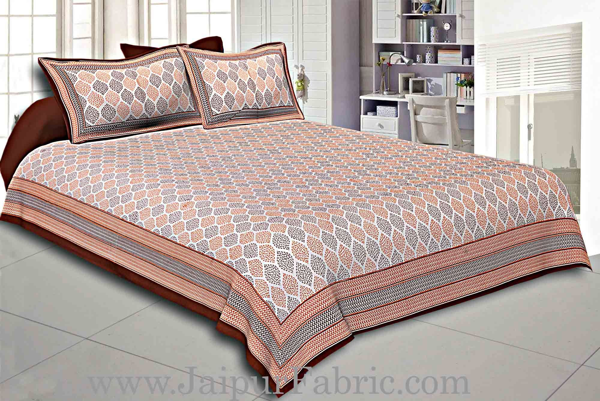 Brown Border Cream Base Leaf Pigment Cotton Satin Hand Block Double Bedsheet