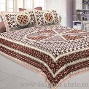 Sanganeri Double Bedsheet in Tan Brown shade