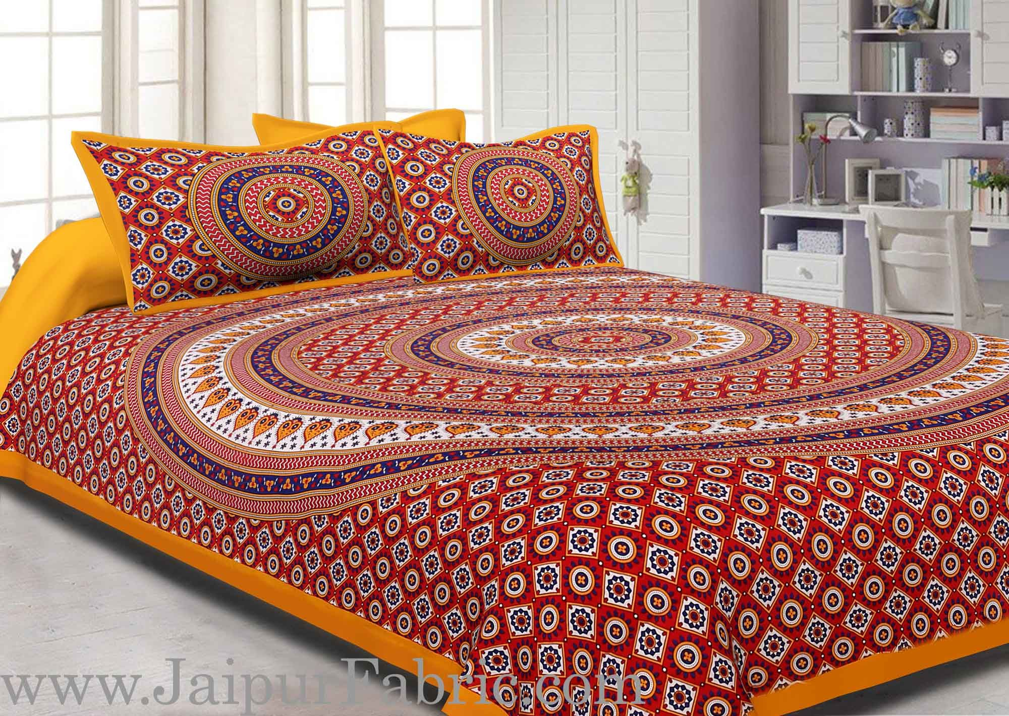 Yellow Border Sanganeri Print Cotton Double Bed Sheet With 2 Pillow Cover