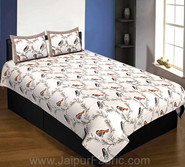 Pure Cotton 240 TC Single Bedsheet indian bird print brown taxable