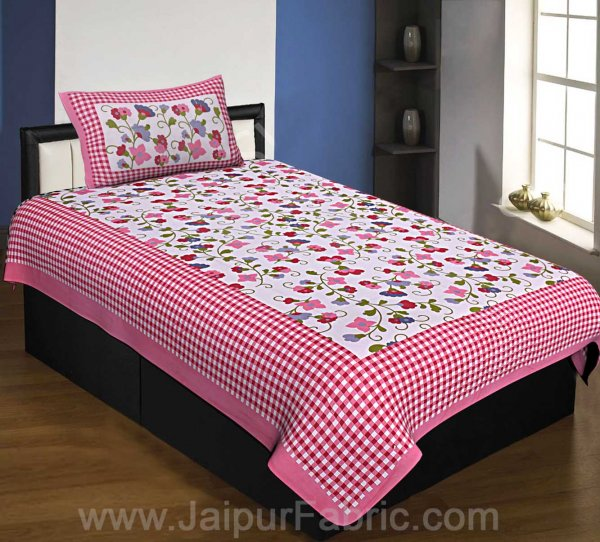 Floral Single Bedsheet Pink Color Dotted Border with 1 Pillow Cover