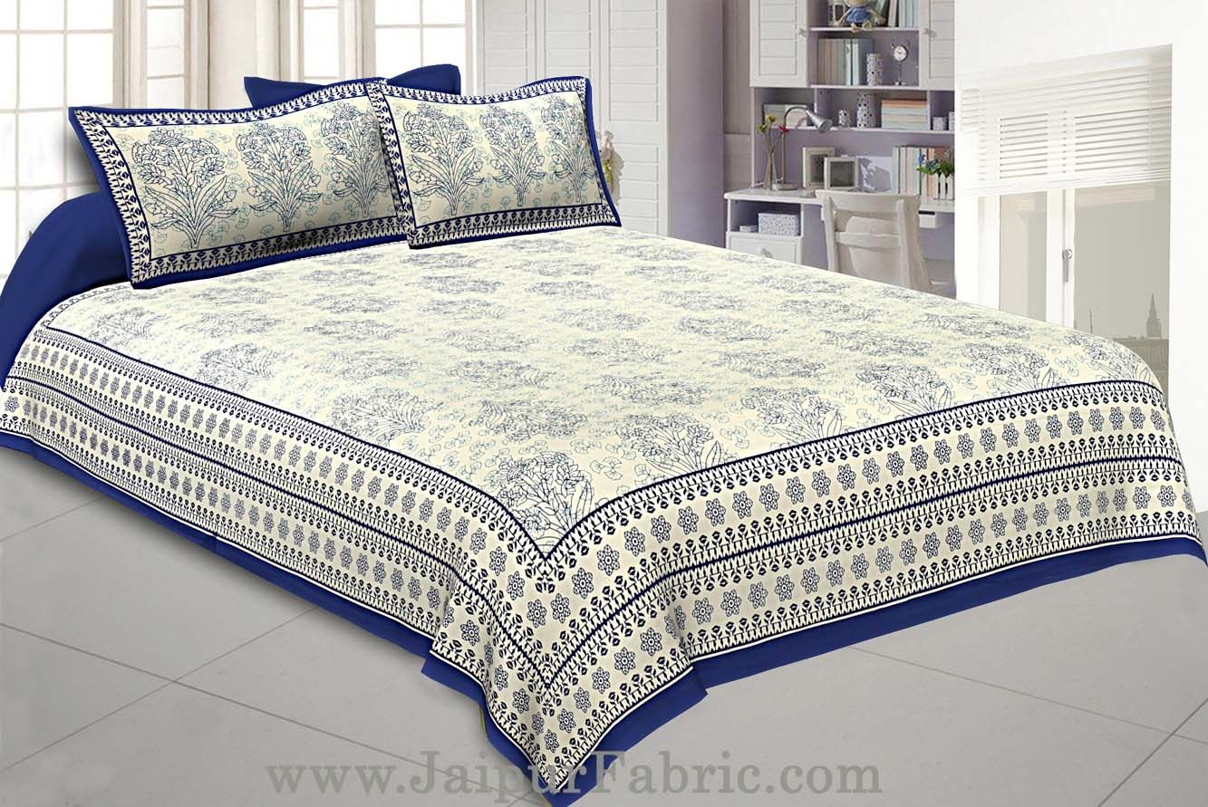 Blue Gamla block Double Bedsheet With 2 Pillow covers