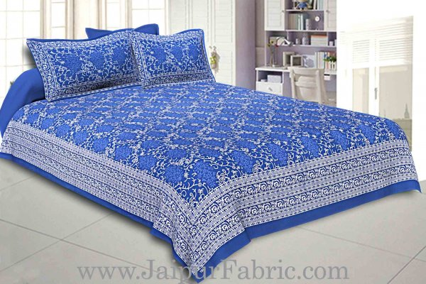 Double Bedsheet Royal Blue Vintage Seamless Print With 2 Pillow Covers