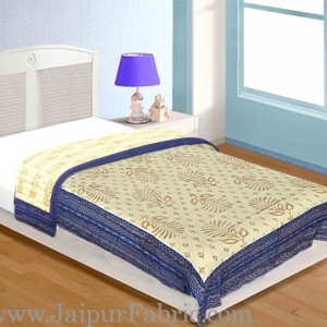 Jaipuri Single Razai with Blue  Leaf pattern Golden Print