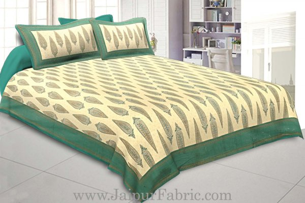 King Size Bedsheet Sea Green Border Golden Paisley Print With Two Pillow Cover