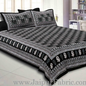 Black  Border Black  Base Checkered  Print Fine Cotton Double Bed sheet  With Pillow Cover