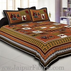 Dark Green And Black Border Multi Colour Base Doli Print In Checks Fine Cotton Double Bed Sheet