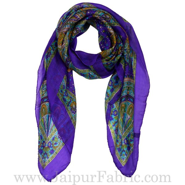Silk Scarf Royal Blue Paisely Look
