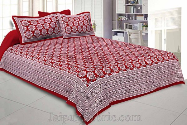 Double bedsheet Ruby Red Hand Block Floral Print