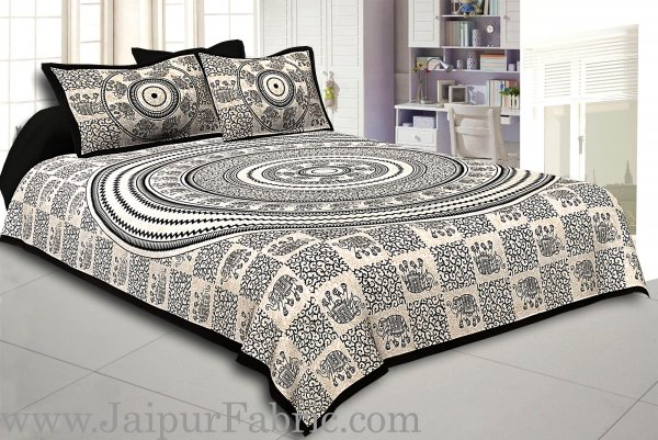 Black Border Cream Base  Mandal With  Elephant Print  Super Fine Cotton Double Bed Sheet