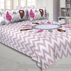 Modern Jungle Pink Cream 240 TC Double Bedsheet