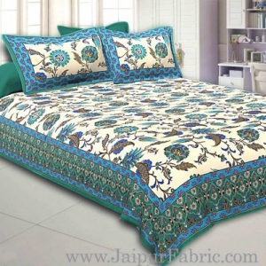 Green Border Multi Floral Golden Print Fine Cotton Double Bedsheet With Two Pillow