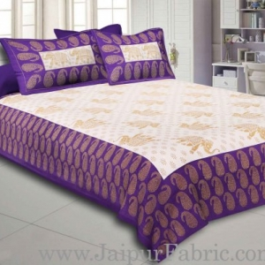 Purple Border Elephant Golden Print Cotton Double Bedsheet With Pillow Cover