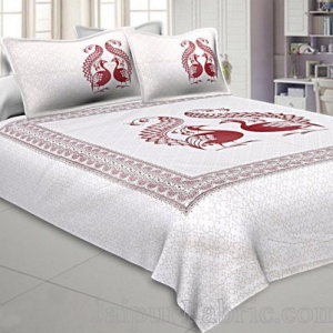 Twill Cotton Double Bedsheet Burgundy Red  Peacock Pair
