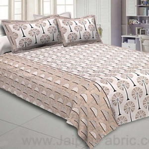 Double Bedsheet Brown Palm Tree Print Cotton