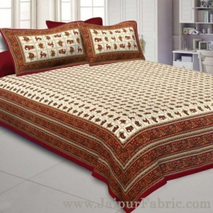 Super King Size Double Bedsheet Maroon Jaipuri Traditional Print with 2 Pillow Covers