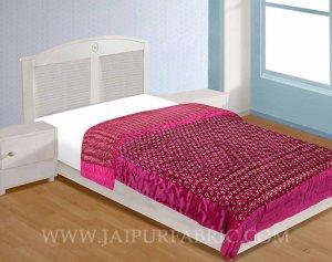 Single Bed Quilt Rani Base Golden Floral Print Silk